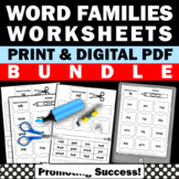 Word Families Kindergarten BUNDLE, Phonics Cut and Paste Activities Coloring
