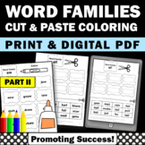 Word Families Worksheets Part II, Phonics Cut and Paste Activities