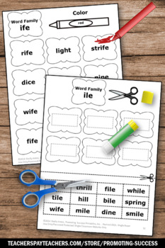 Word Families Worksheets Part III Word Family Cut and Paste Activities Dr. Seuss