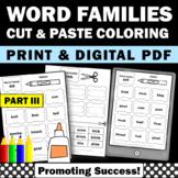 Word Families Kindergarten Worksheets Part III Phonics Cut and Paste Activities