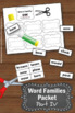 Word Families Worksheets Part IV Word Work Activities Phonics Review First Grade
