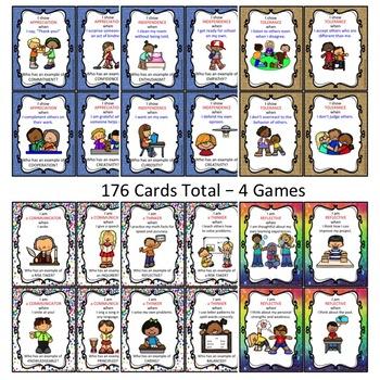 IB PYP Attitudes and Attributes Vocab Card Games Bundle