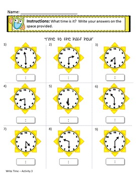Telling Time Worksheets with Answer Keys