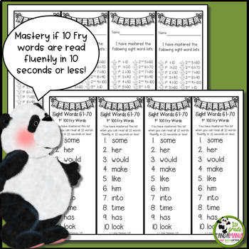 200 Fry Sight Words on Mastery Bookmarks