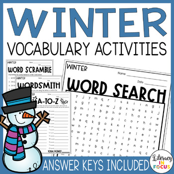 Winter Vocabulary Activities | Winter Word Search Included
