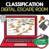 Classification Digital Escape Room, Breakout Room, Classification Activity Pages