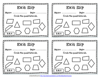 2nd Grade Geometry Exit Slips: 2nd Grade Geometry Exit Tickets, 2nd Grade Math