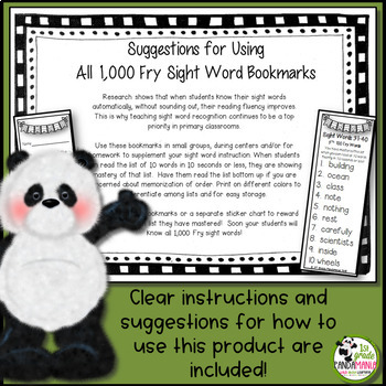Fry Sight Words Mastery Bookmarks for First 300 Fry Words