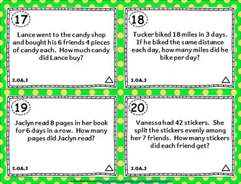 3rd Grade OA Task Cards: ALL Operations & Algebraic Thinking Task Cards OA: 3.OA