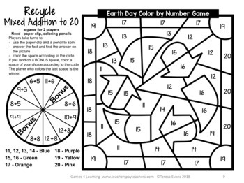 Earth Day Color by Number Earth Day Math Games by Games 4 Learning
