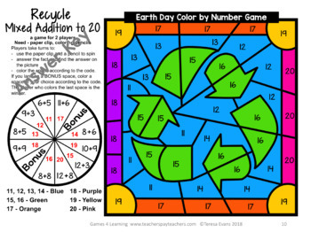 Earth Day Color by Number Math Games - Add, Subtract, Multiply, Divide