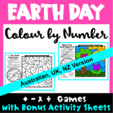 Earth Day Colour by Number Maths Games AU UK NZ Candian Edition