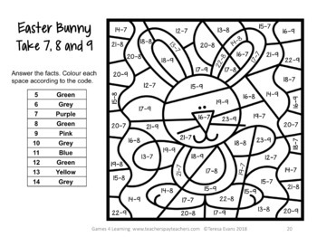Easter Colour by Number Maths Games AU UK NZ Canadian Edition