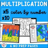 Multiplication Worksheets - Color by Number - Using 5 and 10 as Factors