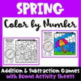 Spring Color by Number: Spring Math Games Addition Subtraction
