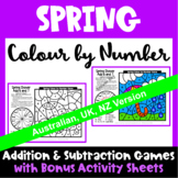Spring Colour by Number Maths Games AU UK NZ Canada Edition