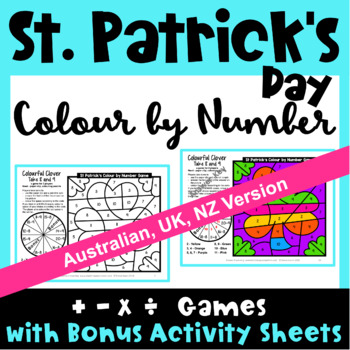 St. Patrick's Day Colour by Number Maths Games AU UK NZ CAN Edition