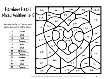 Valentine's Day Colour by Number Maths Games Addition Subtraction AU UK NZ CAN