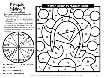 Winter Colour by Number Addition and Subtraction Games AU UK NZ CAN Edition
