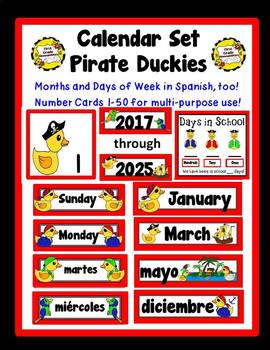 Pirate Duckies Theme Calendar Set: English and Spanish included!