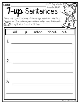 7-up Sentence Writing Using 1,000 Fry Sight Words