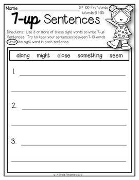 Fry Sight Words 7-up Sentence Writing Using First 300 Fry Words