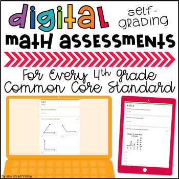 BUNDLE of Digital, Self-grading Math Assessments for 4th Grade CCSS