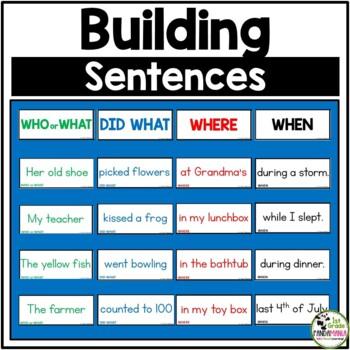 Building Sentences Pocket Chart Center Activity