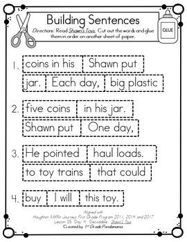 Journeys 1st Grade Building Sentences with Decodable Readers HMH Lessons 21-30