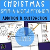 Christmas Addition and Subtraction Word Problems - Spin-A-