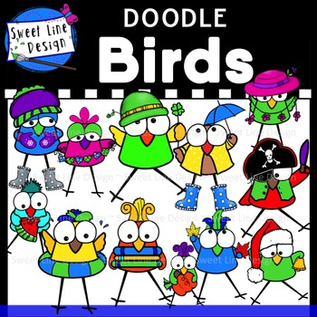 Clipart - Doodle BIRDS month by month {Sweet Line Design}