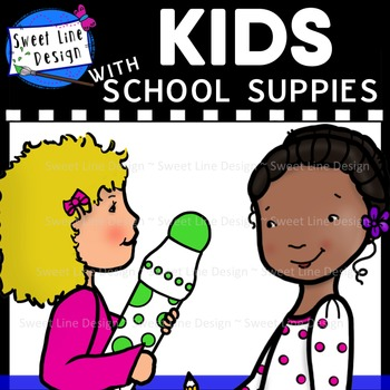 Clipart - Kids with School Supplies {Sweet Line Design}