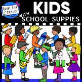Clipart - Kids with School Supplies {Sweet Line Design}
