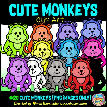 Cute Monkeys Clip Art for Personal and Commercial Use