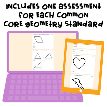 Digital, Self-grading Math Assessments for 4th Grade CCSS {Geometry Domain}