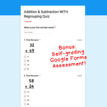 Digital Task Cards for Google Classroom: Addition & Subtraction WITH Regrouping