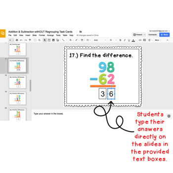 Digital Task Cards: Addition & Subtraction withOUT Regrouping