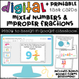 Digital Task Cards for Google Classroom™: Mixed Numbers & Improper Fractions