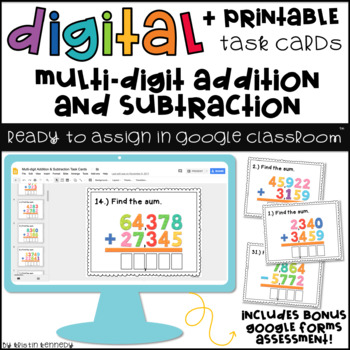 Digital Task Cards for Google Classroom: Multi-digit Addition and Subtraction