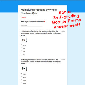 Digital Task Cards for Google Classroom: Multiplying Fractions by Whole Numbers