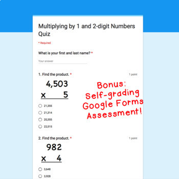 Digital Task Cards for Google Classroom™: Multiplying by 1 and 2-digit Numbers