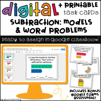 Digital Task Cards for Google Classroom™: Subtraction {Models & Word Problems}