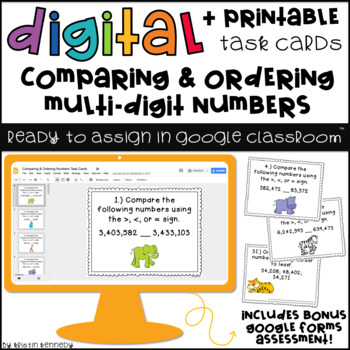 Digital Task Cards for Google Classroom: Comparing & Ordering Numbers