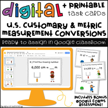 Digital Task Cards for Google Classroom: Measurement Conversions
