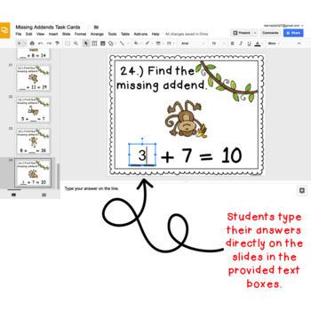 Digital Task Cards for Google Classroom™: Missing Addends