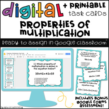 Digital Task Cards for Google Classroom: Properties of Multiplication