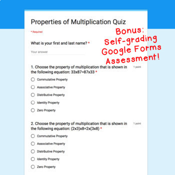 Digital Task Cards for Google Classroom™: Properties of Multiplication