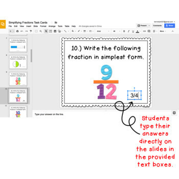 Digital Task Cards for Google Classroom: Simplifying Fractions