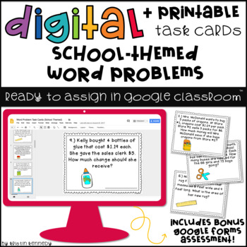 Digital Task Cards for Google Classroom™: Word Problems (School Themed)