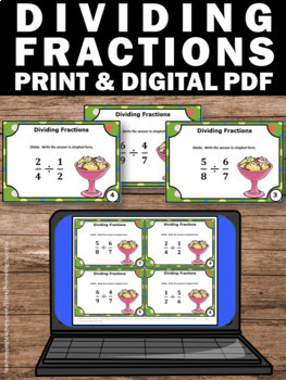 Dividing Fractions Task Cards, 5th Grade Math Centers, Fraction Games SCOOT